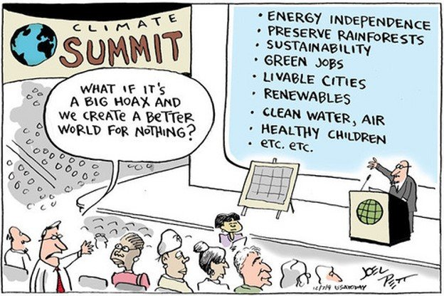 at climate summit, presenter lists many reasons and audience member says what if it's a big hoax and we create a better world for nothing