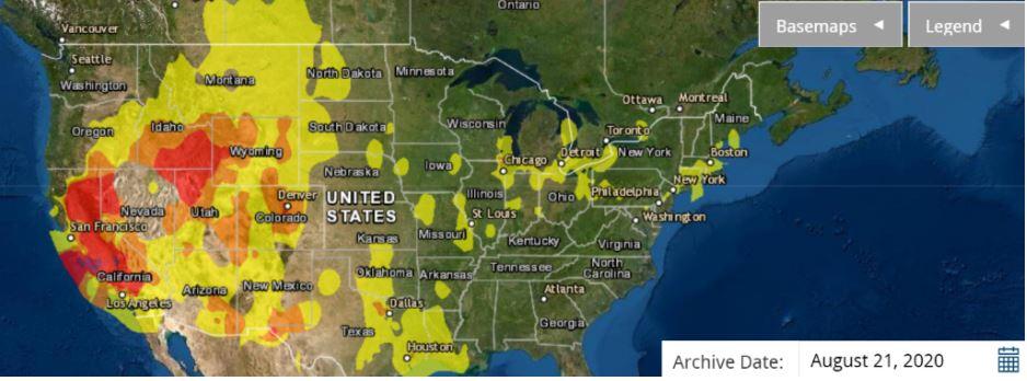 Air quality map showing poor quality over California NE through Montana